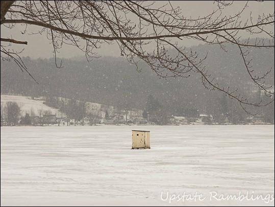 ice fishing shack in upstate NY