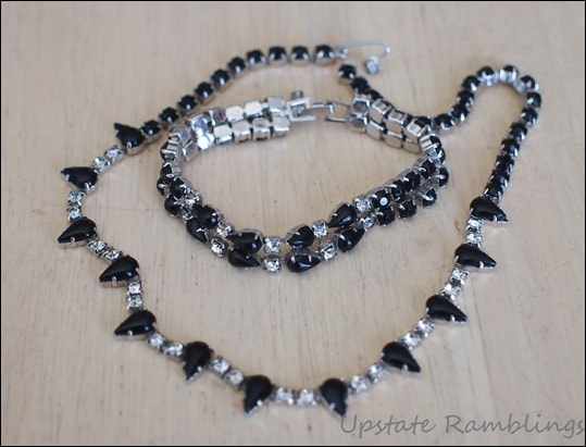 Jet and Rhinestone jewelry