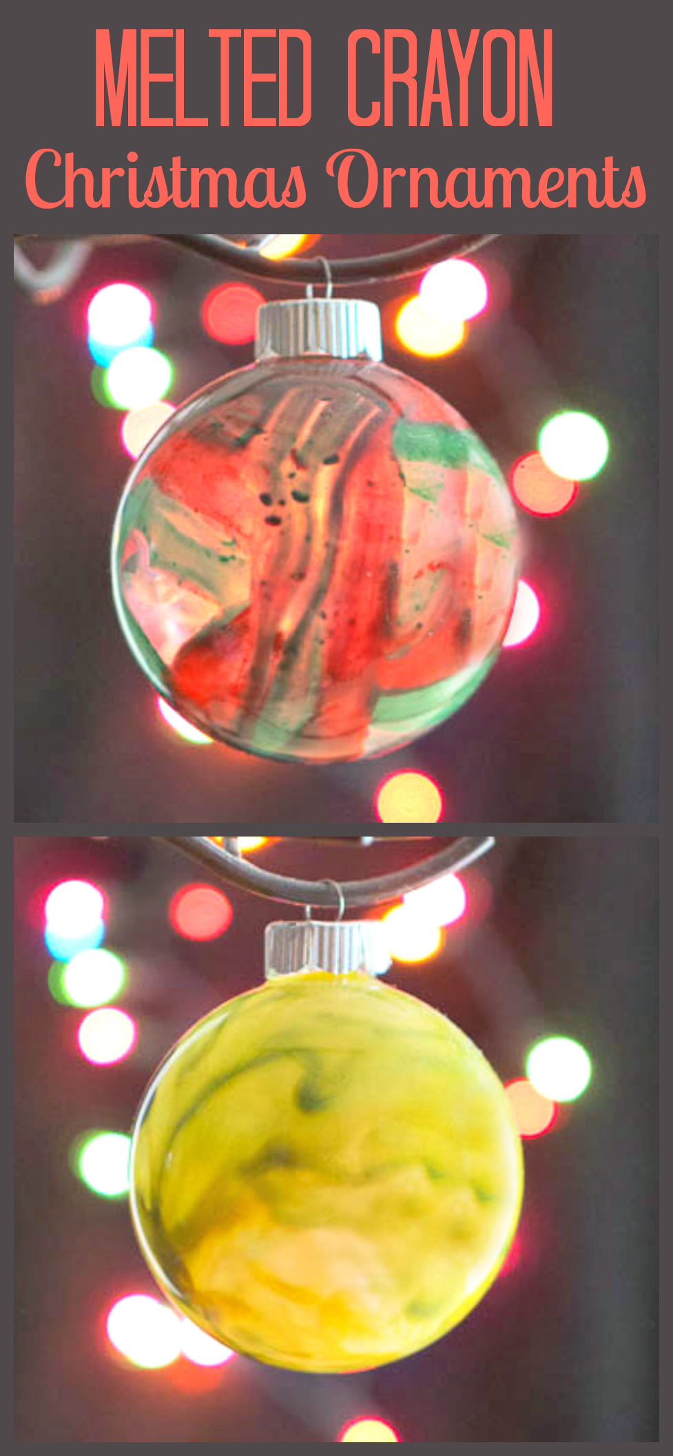 Melted Crayon Ornaments - A fun and easy Christmas Craft using broken crayons and a blow dryer.