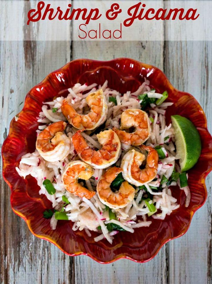 Shrimp and Jicama Salad - An easy summer salad with jicama, radish, cilantro, lime and shrimp
