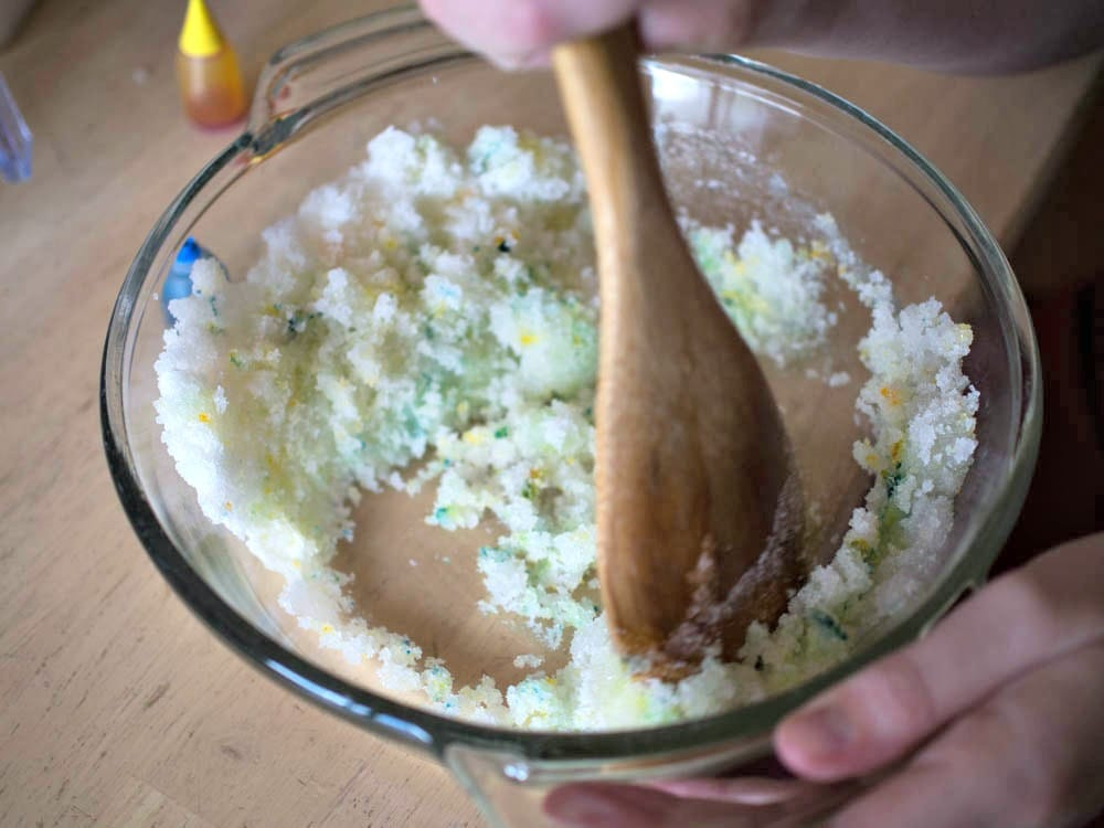 Mixing the Peppermint Sugar Scrub