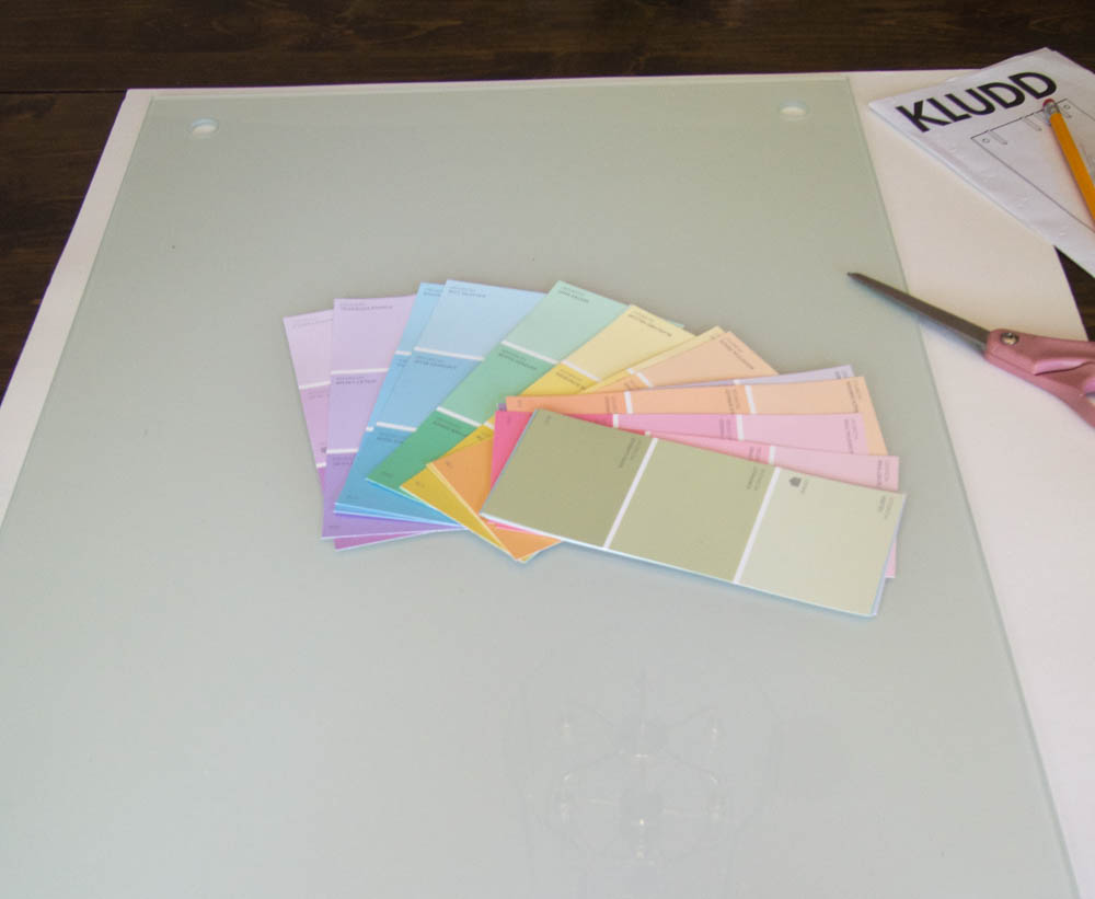 Materials for paint chip calendar and memo board