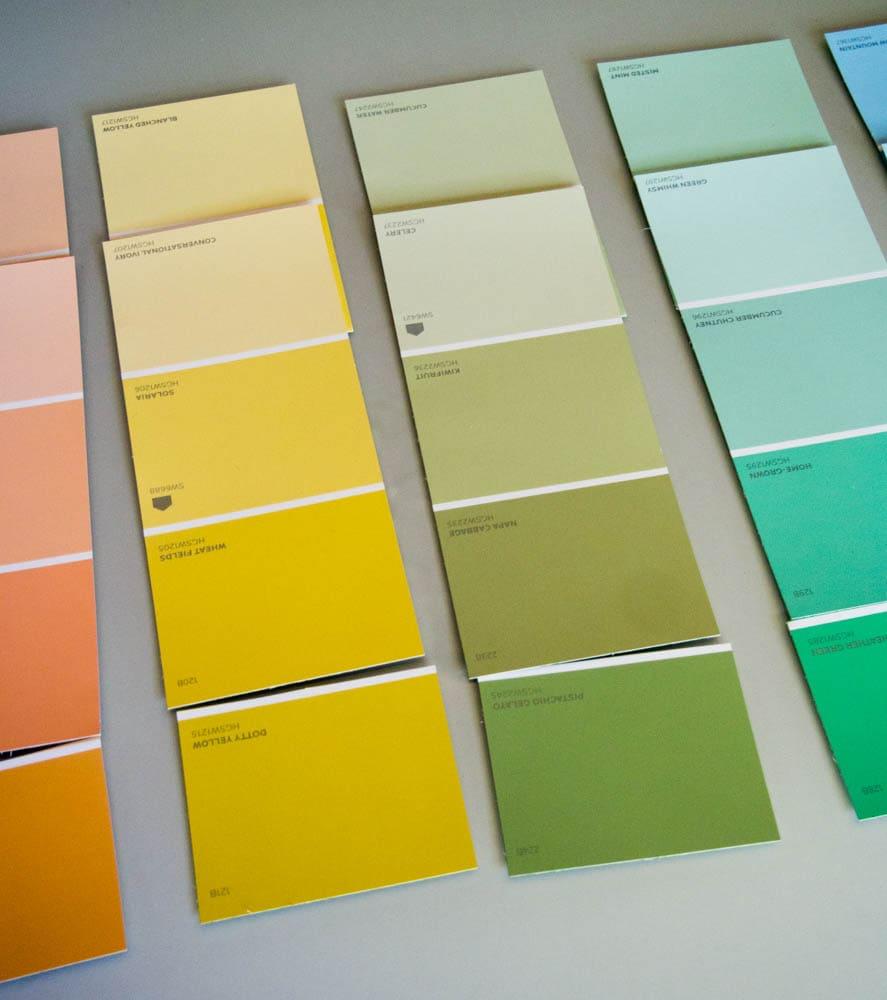 Arranging paint chips for the paint chip calendar