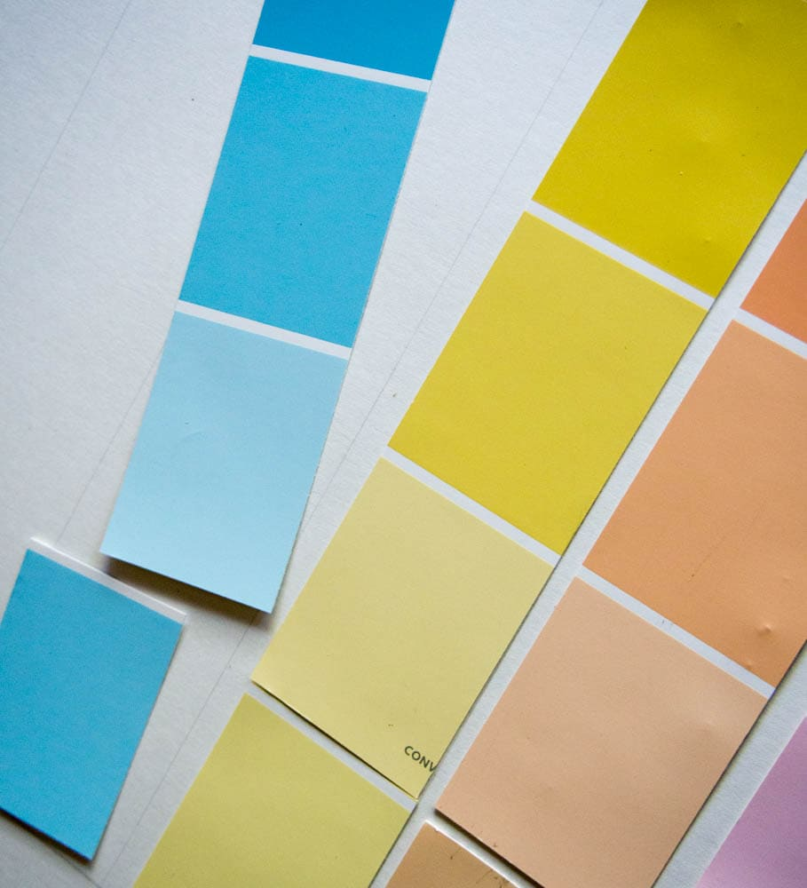 Laying out the paint chip calendar