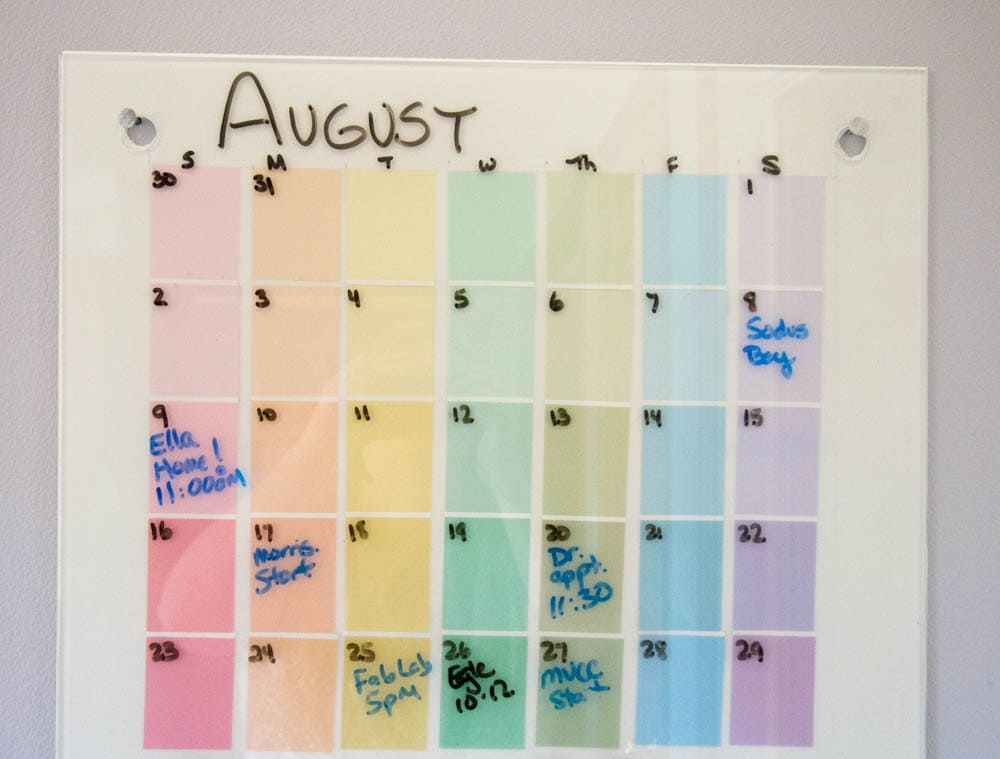 Easy Paint Chip Calendar and Memo Board DIY Project for getting organized for back to school