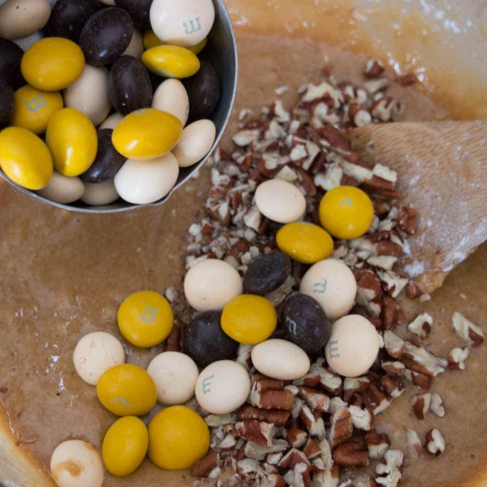 Mixing the Pecan Cookie Pie