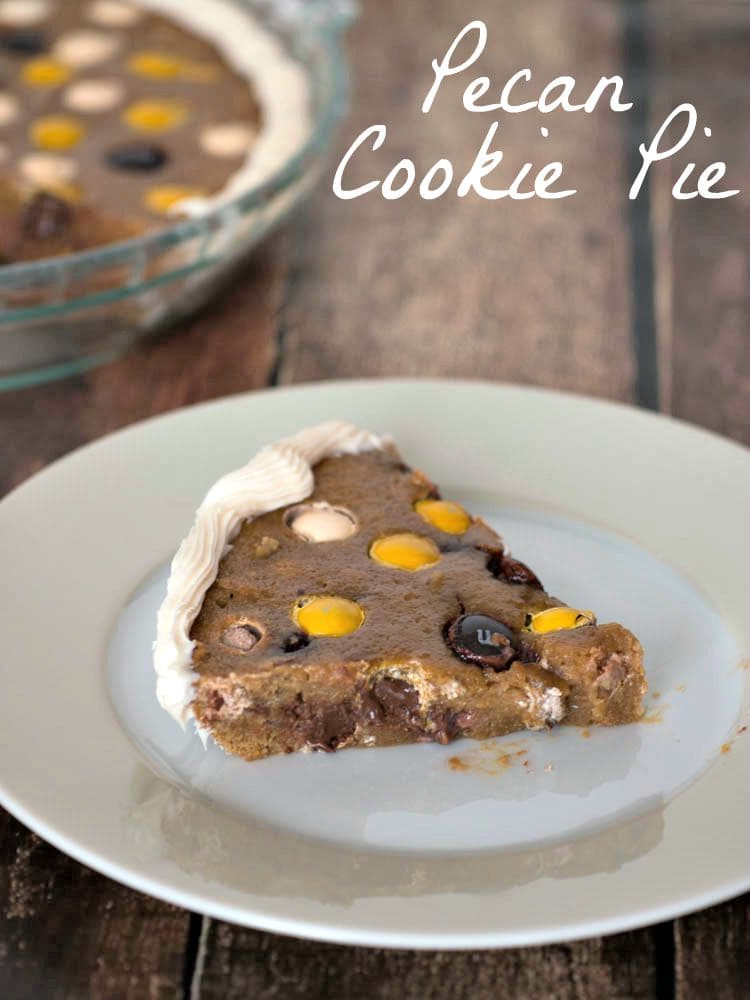 Pecan Cookie Pie - a soft and chewy cookie pie made with M&M's® Pecan Pie and apple sauce
