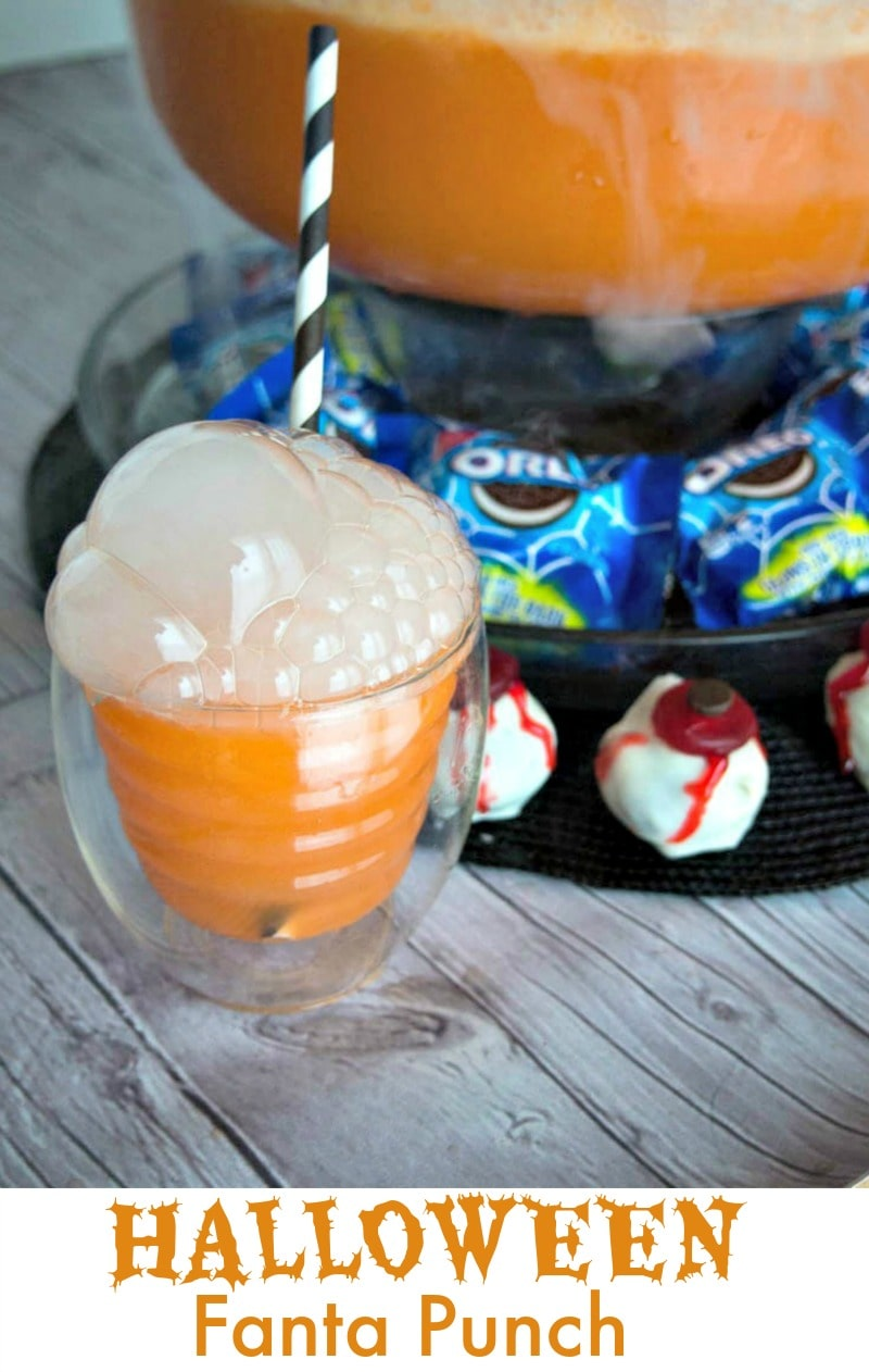 Halloween Fanta Punch - Fanta, Ginger Ale, Sherbet and dry ice are perfect for Halloween