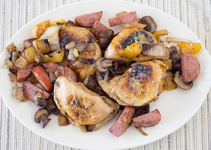 One dish casserole with Pieorgies and Kielbasa - a quick and easy weeknight meal the whole family will enjoy