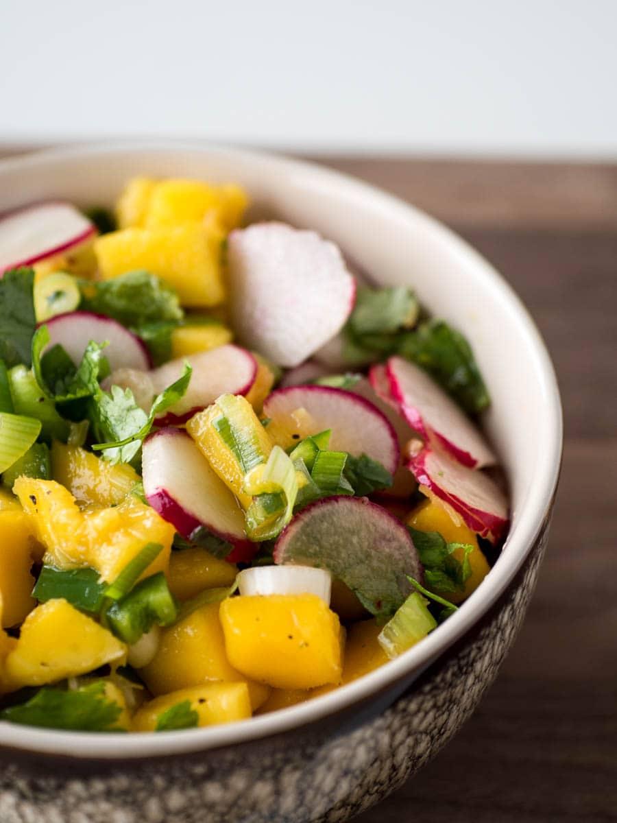 Radish Mango Salsa | Easy Fruit Salsa | Mangoes | Radishes | Mexican | Healthy Salsa for Fish