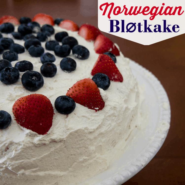 Norwegian BlØkake - a traditional Norwegian dessert used for birthday cake in Norway