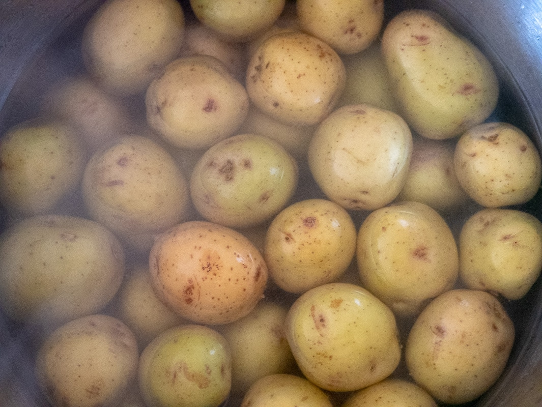salt potatoes in pot of water on stove