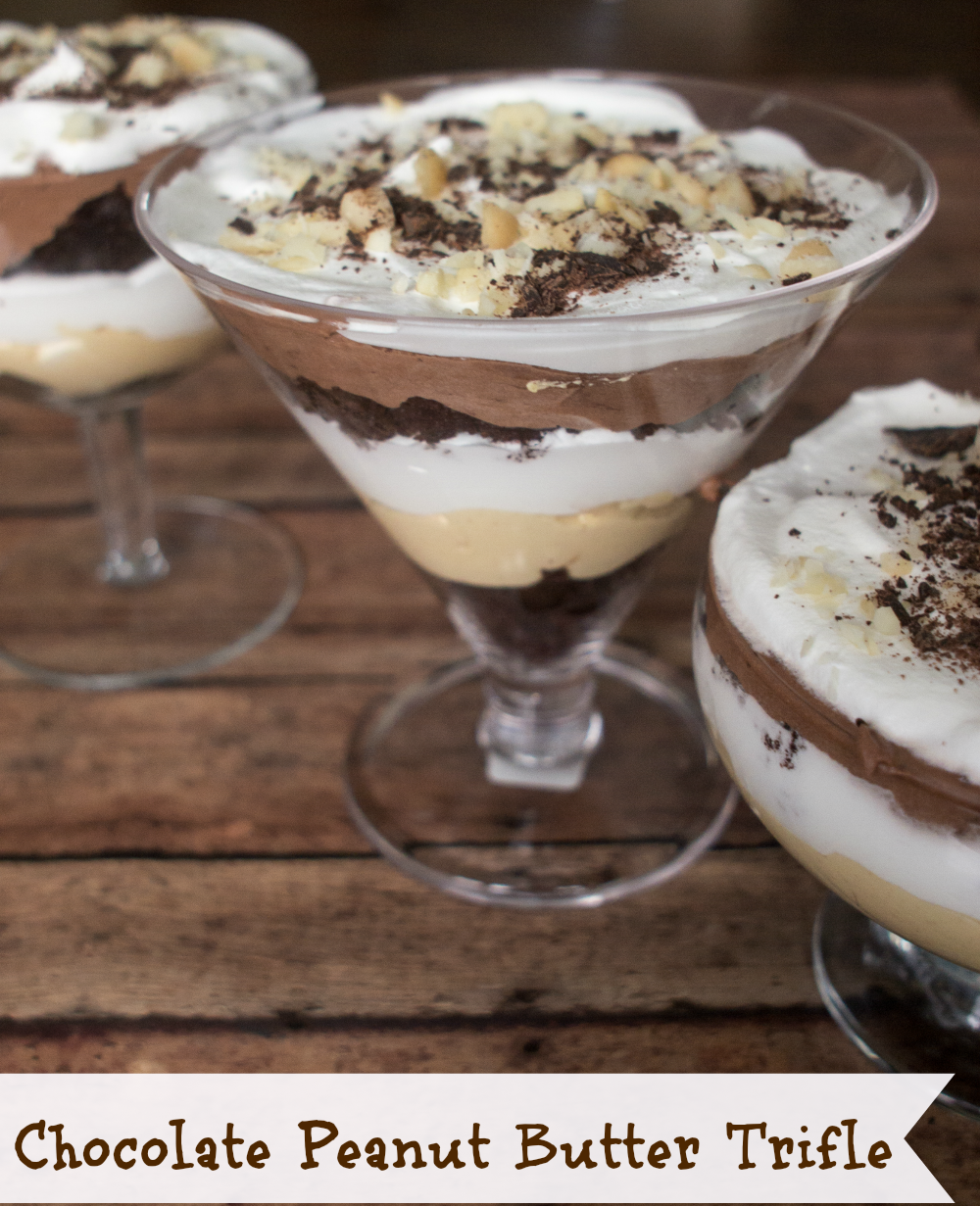 Chocolate Peanut Butter Trifle - This tasty Chocolate Peanut Butter Trifle recipe is easy to make, with layers of peanut butter and chocolate pudding topped with whipped cream.
