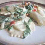 Chicken Marsala Ravioli in Pesto Spinach Cream Sauce Recipe