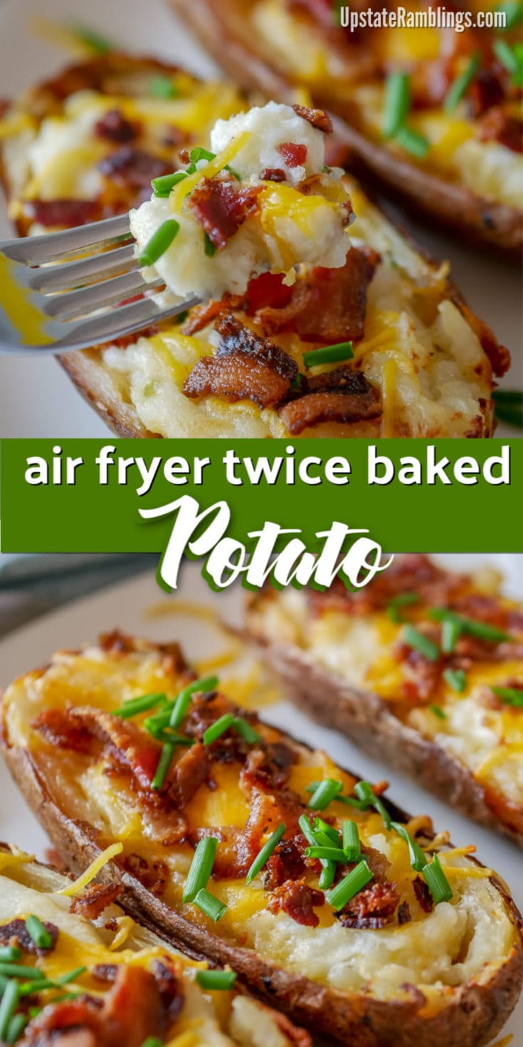 These easy air fryer twice baked potatoes are a creamy and cheesy side dish that is a perfect addition any meal. Hearty baked potatoes are filled with mashed potatoes, sour cream and cheese and topped with bacon and chives. #airfryer #twicebaked #potatoes