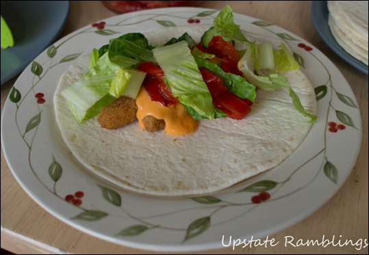 Chicken Fry Wrap with Buffalo Sauce and Lettuce