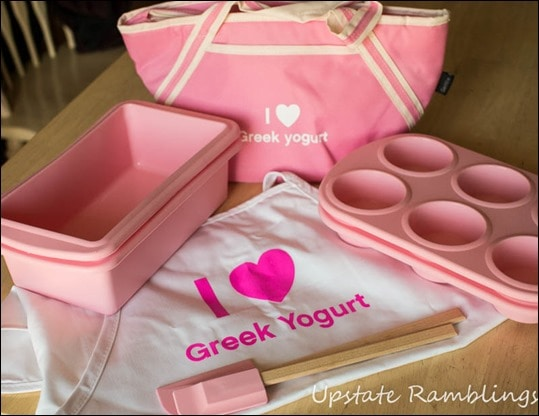 Greek yogurt gift bag prize package