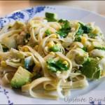 Quick Linguine with Avocado and Artichokes Recipe