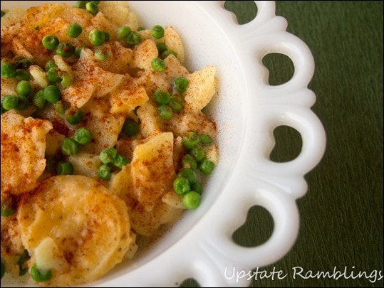 Scalloped Potatoes with peas