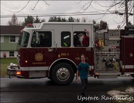 Santa in a fire truck