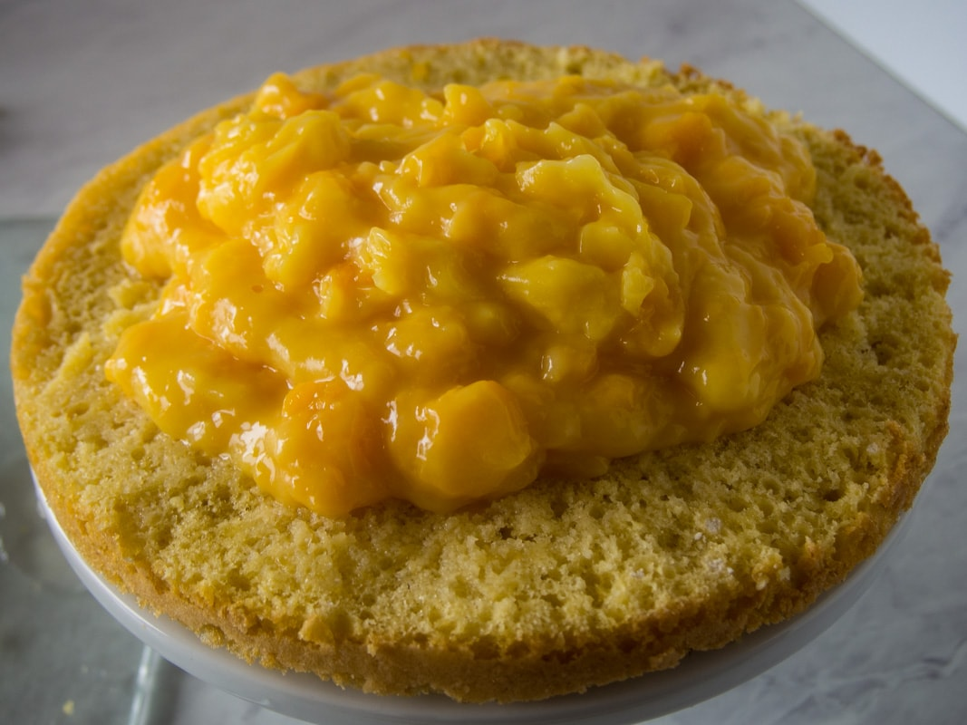 Layer of sponge cake topped with pudding and peach mixture