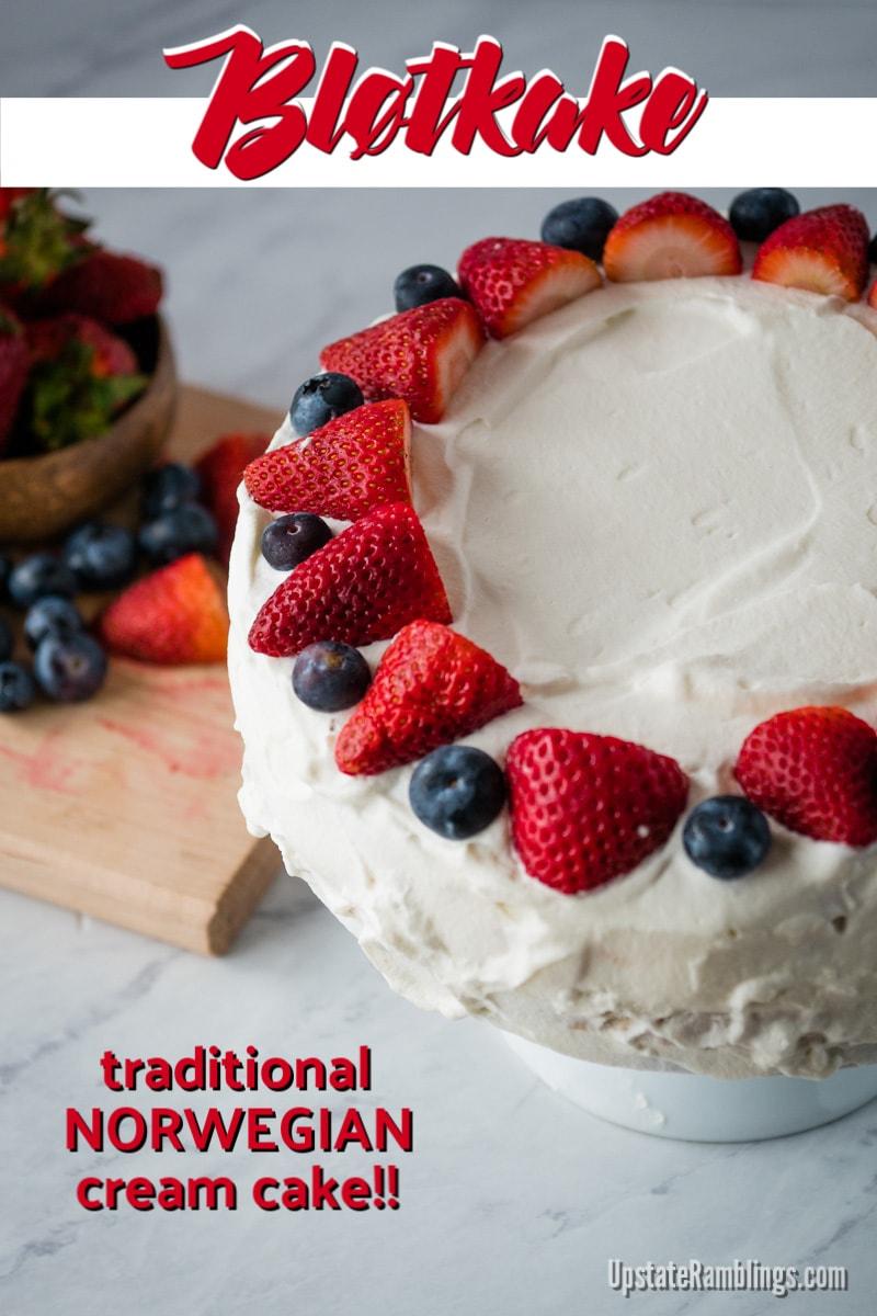 Norwegian Cream cake - blotkake - a traditional dessert of sponge cake with fruit and whipped cream
