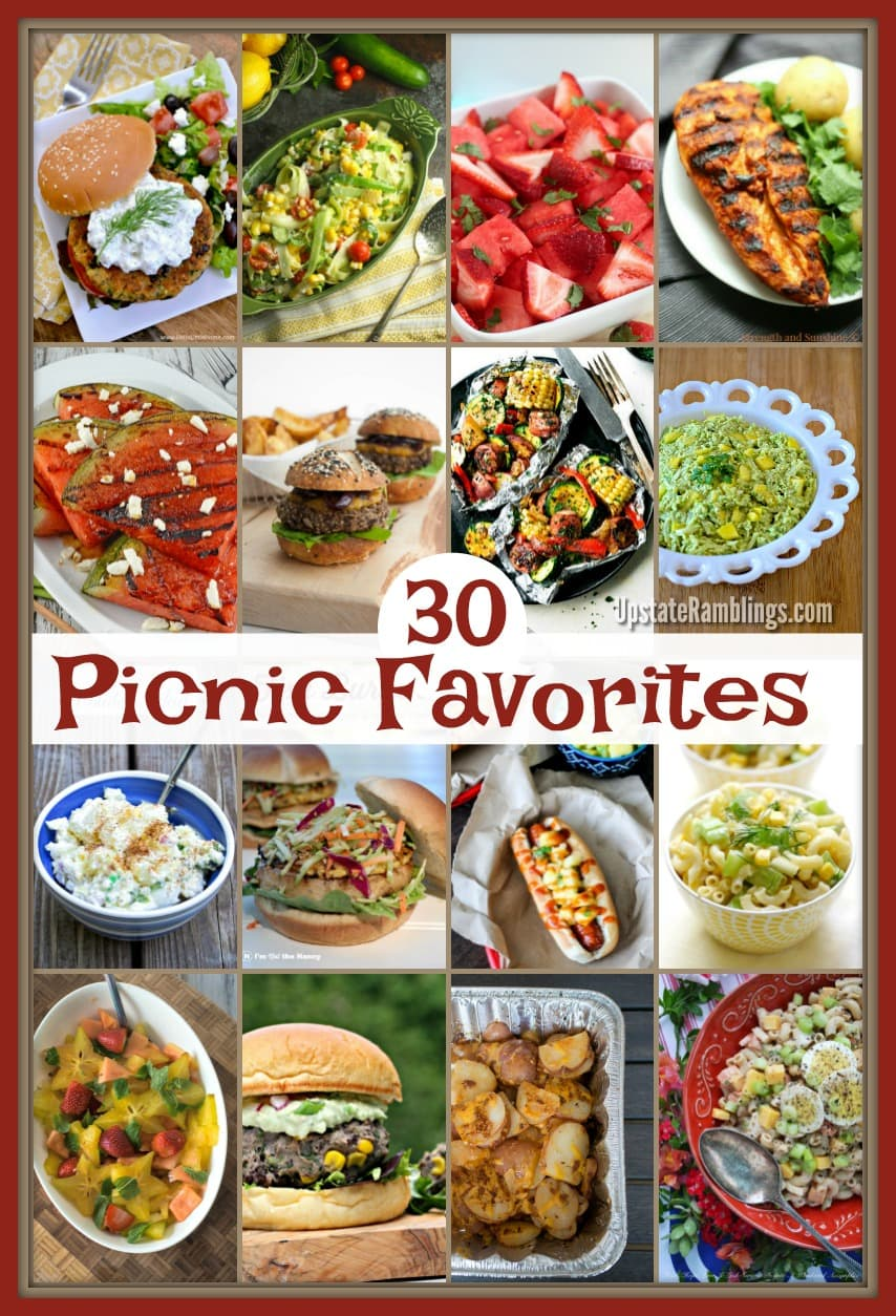 30 Delicious Recipes for your next picnic! Get out of the house this summer and enjoy the great outdoors by having a picnic or cookout with your family and friends. Burgers, hotdogs, salads and more! #picnic #cookout #recipes