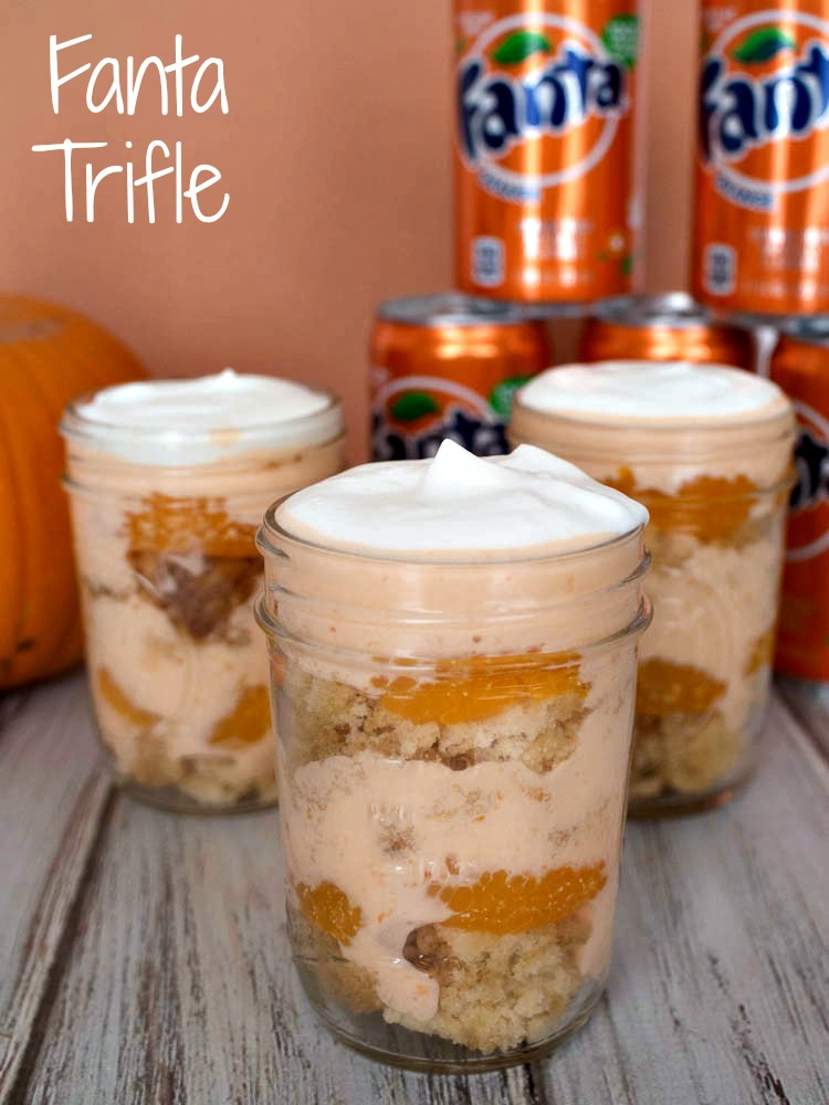 Fanta Trifle - Fanta Cake layered with orange mousse, mandarin oranges and whipped cream #SpookySnacks #shop