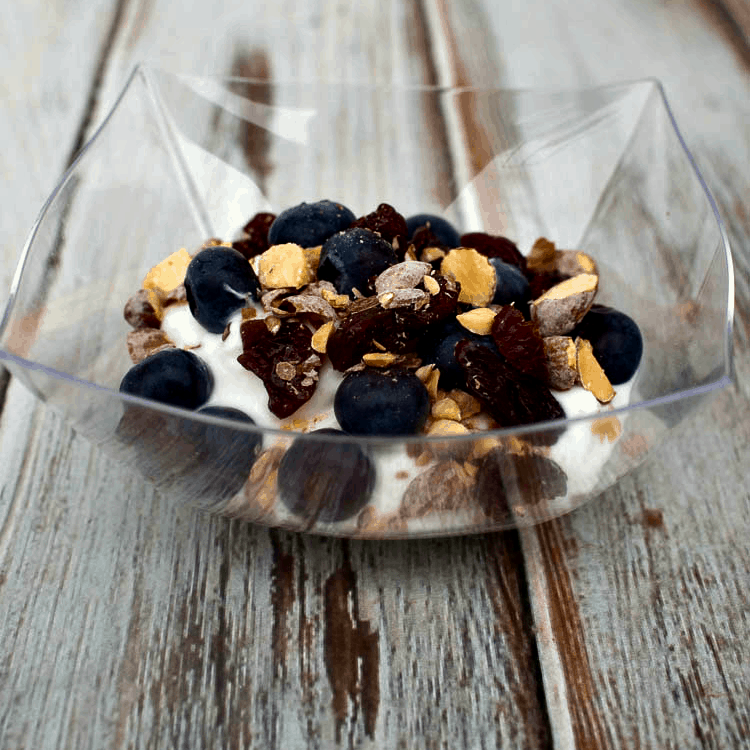 Blueberry Cherry Yogurt Parfait - tasty treat using Greek Yogurt, fresh blueberries, dried cherries and blueberry almonds