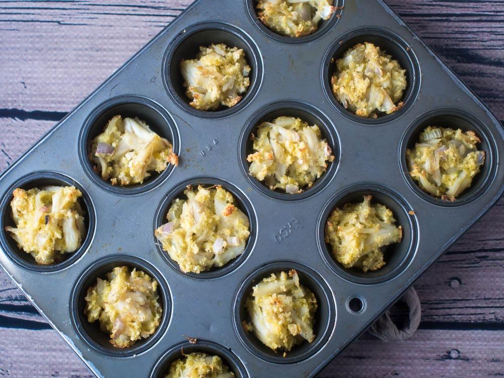 Jalapeno Crab Bites in Mini muffin tins
