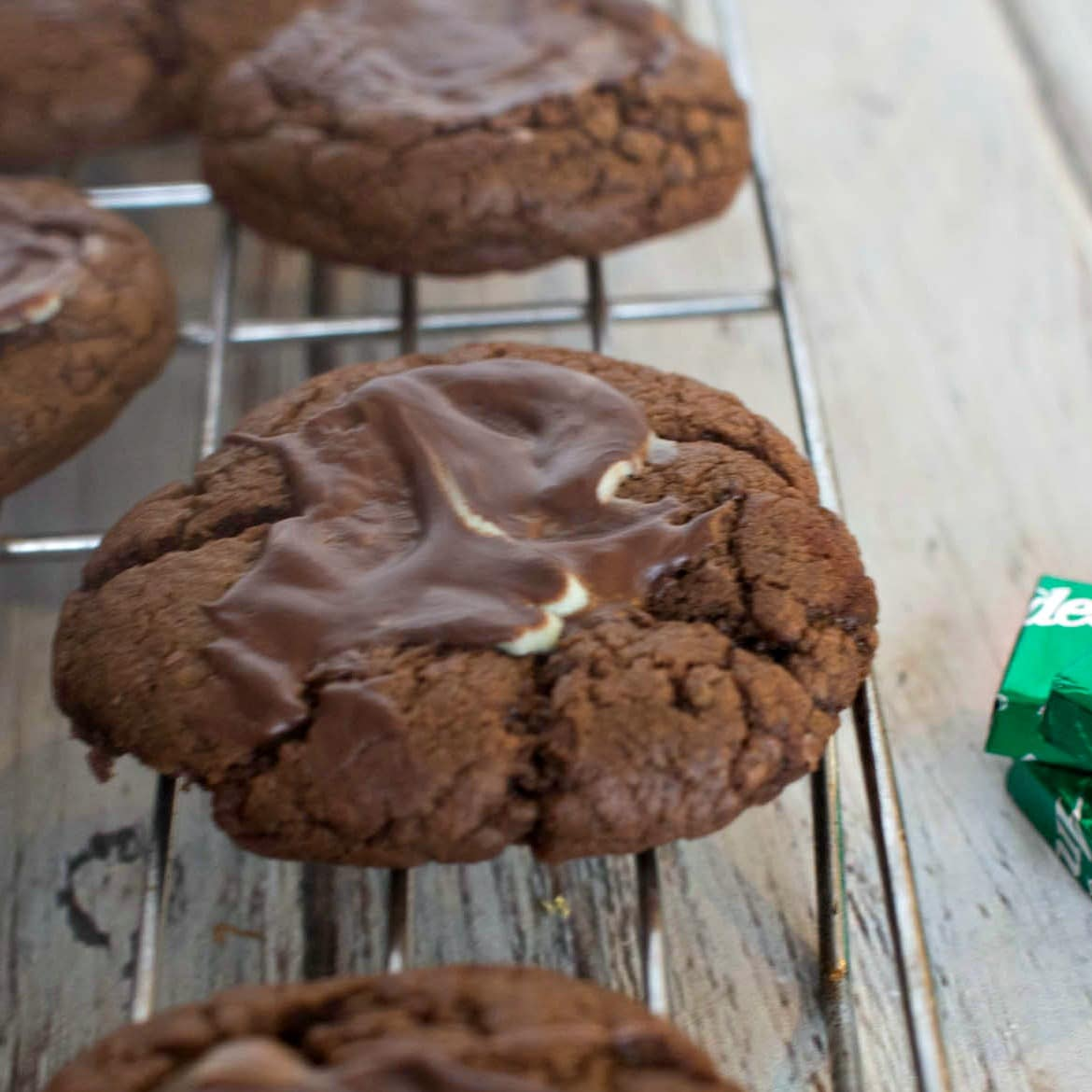 Andes Mint Cookies - Chocolate Cookies with Andes Mints melted on top of the cookie