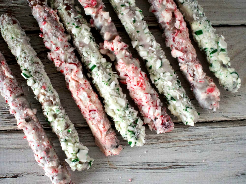 Peppermint Pretzels - Chocolate Covered Pretzel Rods rolled in Peppermint Candy