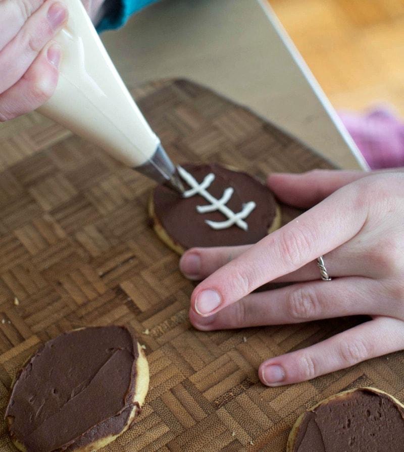 Frosting Football Cookies