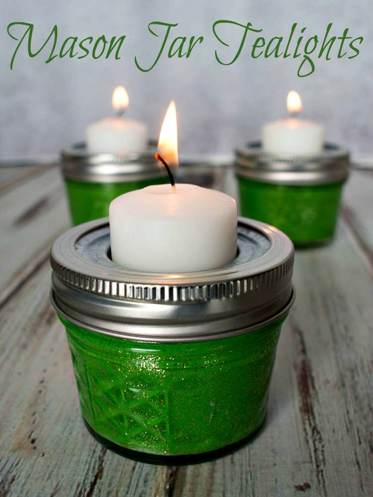 Mason Jar Tealights - an easy decorating idea for St. Patrick's Day