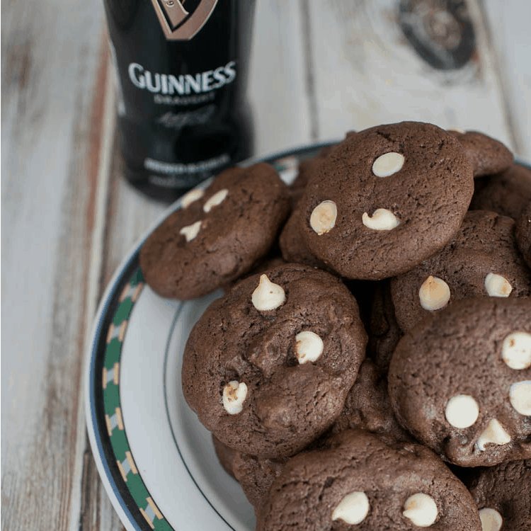Guinness Chocolate Chip Cookies - Chocolate cookies with white and dark chocolate chips flavored with Guinness Stout - Irish Flavor for St. Patrick's Day