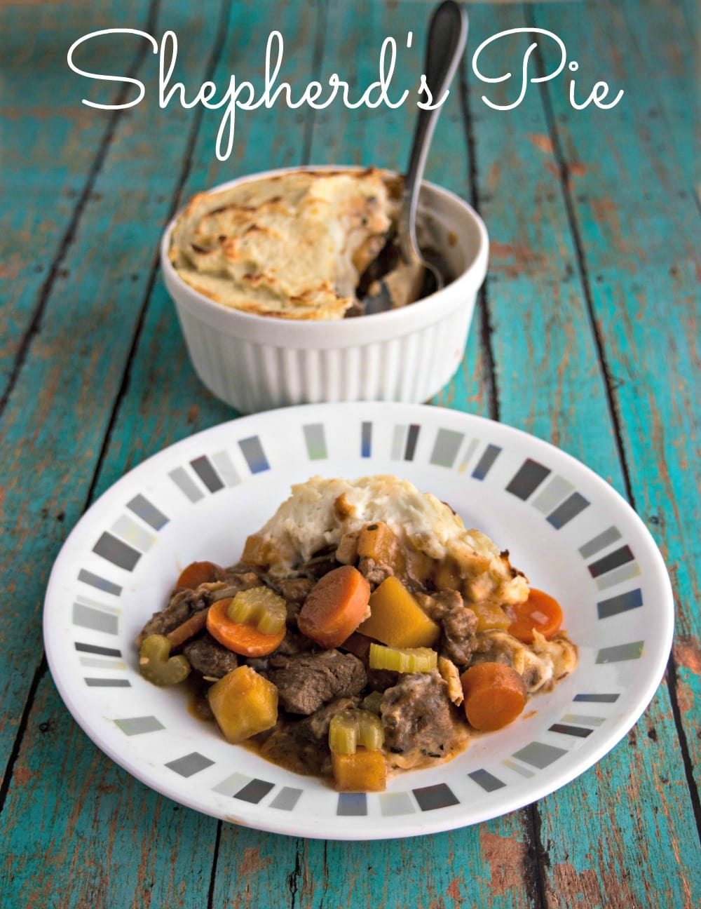Shepherd's Pie with Lamb - a tasty comfort food casserole featuring chunks of lamb and vegetables topped off with creamy mashed potatoes.