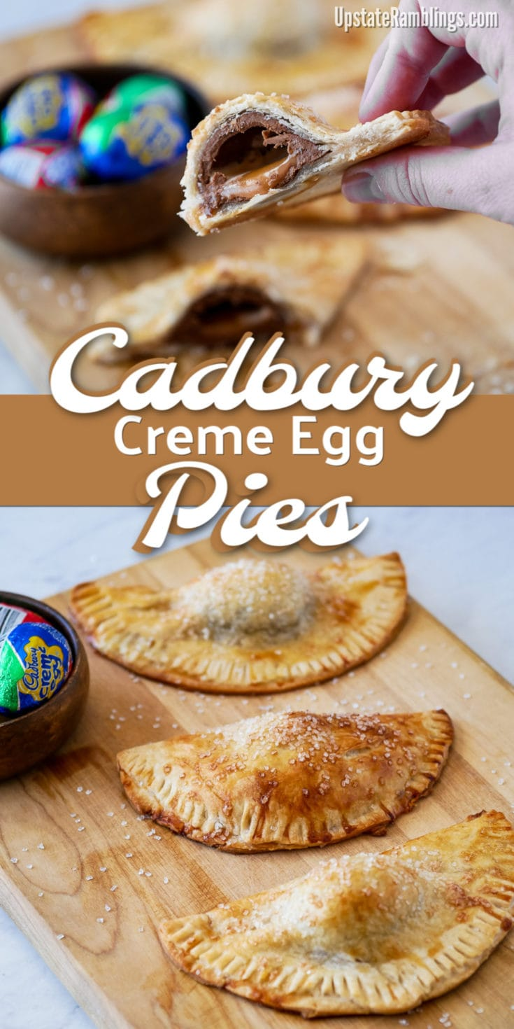 Make a fun Cadbury Creme Egg dessert by baking the chocolate eggs into a hand pie for a quick and easy Easter dessert. An unexpected chocolate Easter treat with a combination of flaky pie crust and gooey filling that you need to try to appreciate! #easterdessert #cadburycremeegg