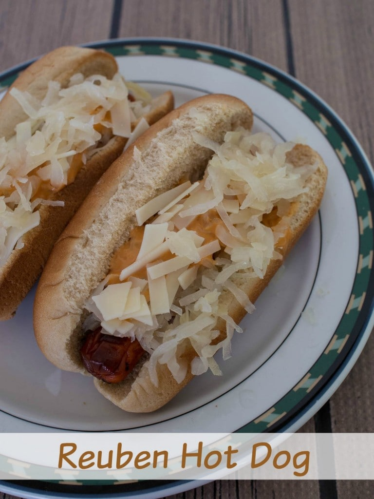 Reuben Hot Dog - a nice twist on traditional hot dogs - add sauerkraut, dressing and Swiss cheese for the flavor of a Reuben sandwich.