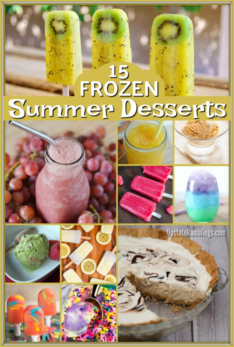 Summer is the perfect time for cool frozen treats. This collection of 15 cool dessert recipes for hot days includes classic frozen favorites like ice cream and ice cream cakes along with kid friendly ice pops and slushies. #icecream #popsicles #frozentreats #summerdessert