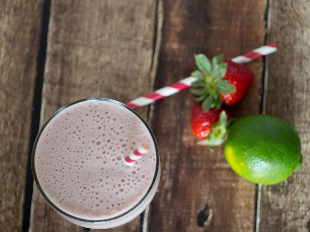 Strawberry Citrus Shake - a delicious strawberry yogurt smoothie with a hint of lime