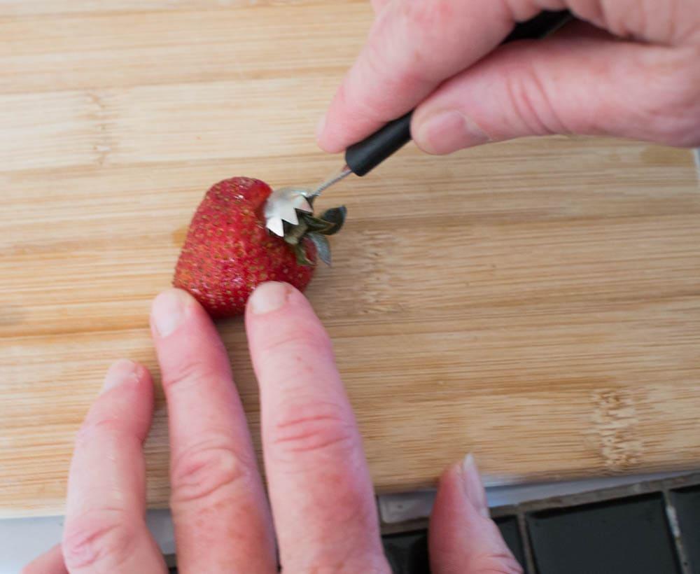 Chocolate Cheesecake Stuffed Strawberries - These easy to make strawberries are stuffed with tasty chocolate cheesecake filling.