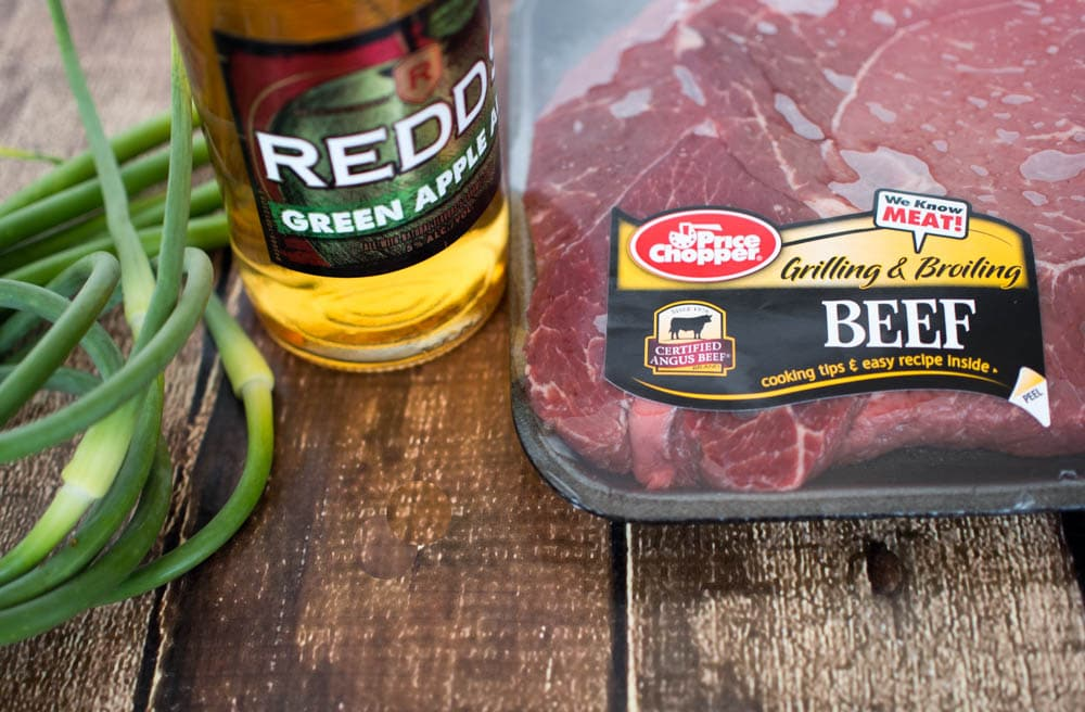 Marinade Ingredients for Easy Steak Fajitas - steak marinaded in Redd's Apple Ale, served with onions, peppers, avocado and lime