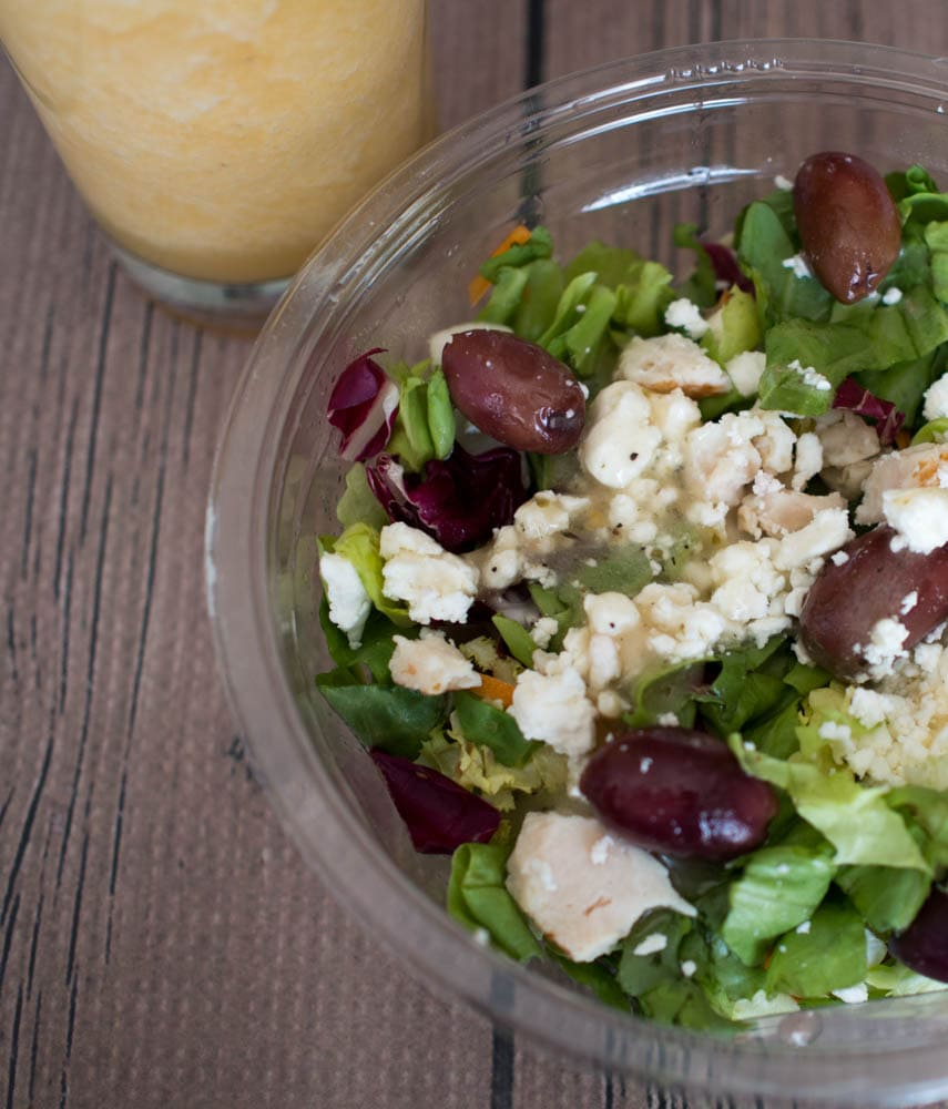 Orange Cantaloupe Smoothie paired with Redi Pac Salad