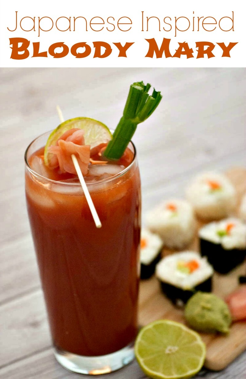 Japanese Inspired Bloody Mary - add some lime juice and Sake to a Bloody Mary cocktail, and top it off with pickled ginger and lime. A fun drink that pairs perfectly with sushi.