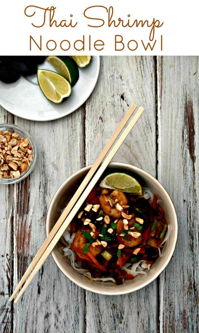 Thai Shrimp Noodle Bowl - a quck and easy family dinner featuring carrots, zucchini, red peppers, California Dried Plums, and shrimp in a teriyaki sauce.