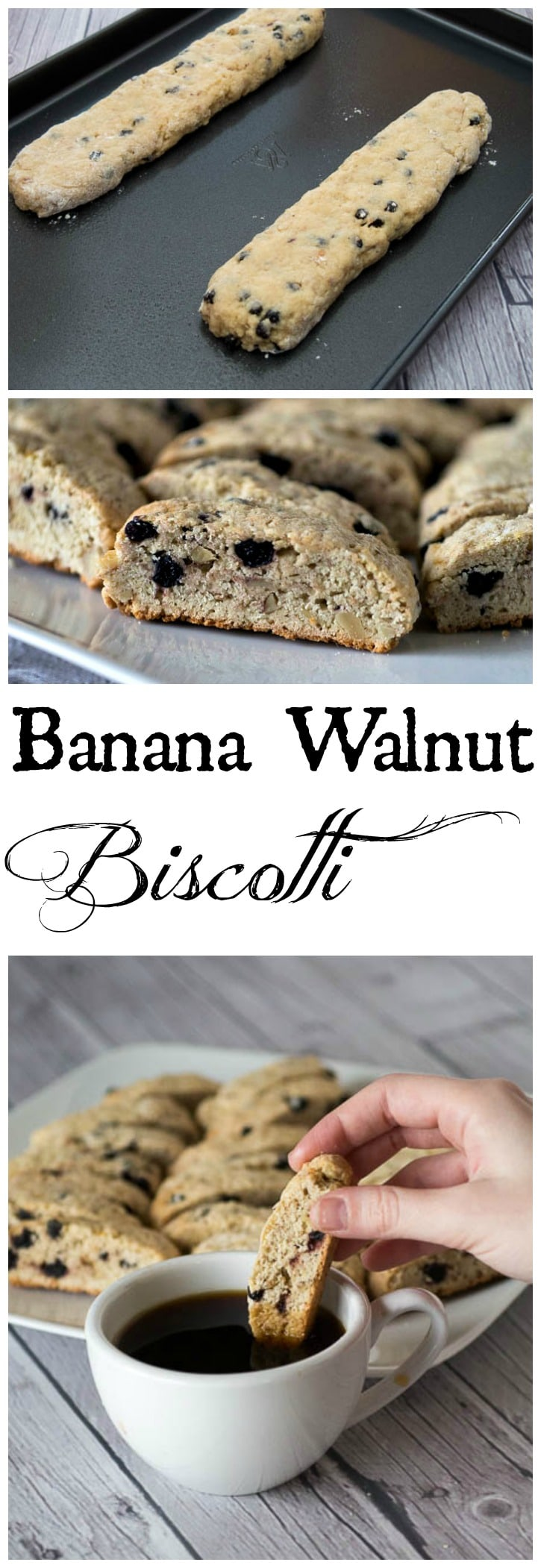 This easy Banana Walnut Biscotti is the perfect crunchy cookie, made with bananas, walnuts and dried blueberries.