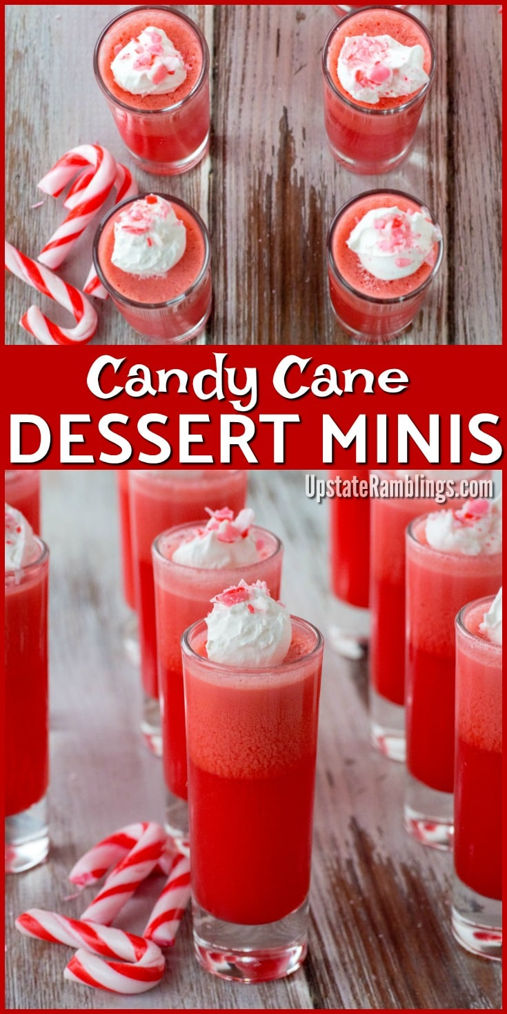 These Candy Cane Dessert Minis are an easy holiday dessert - perfect for Christmas. There are only 3 simple ingredients - Jell-o, Cool Whip and Candy Canes but they combine for an elegant holiday party treat in a shot glass #holidaydessert #shotglassdessert #minidessert #candycanes