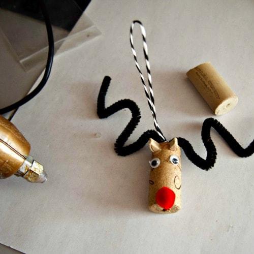 Making the Wine Cork Reindeer Ornament