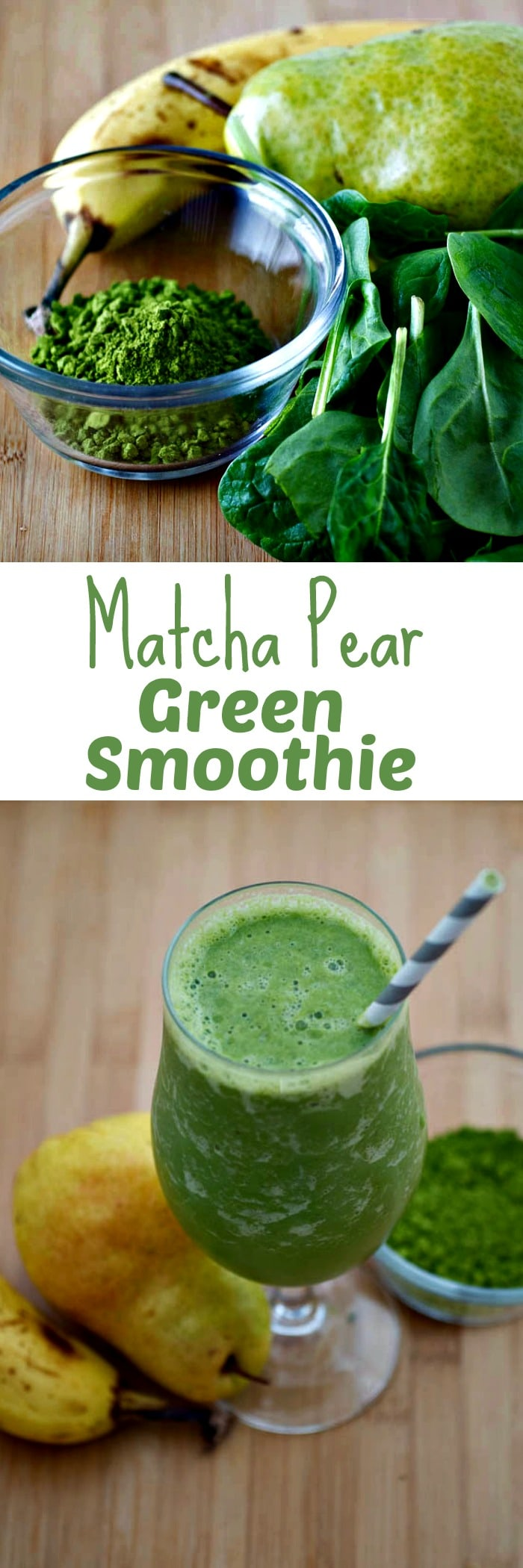 Matcha Pear Green Smoothie - A healthy green smoothie, perfect for St. Patrick's Day. A healthy blend of pears, banana, spinach and green tea powder with almond milk.