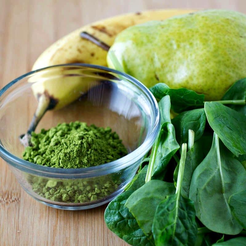 Matcha Pear Green Smoothie Ingredients